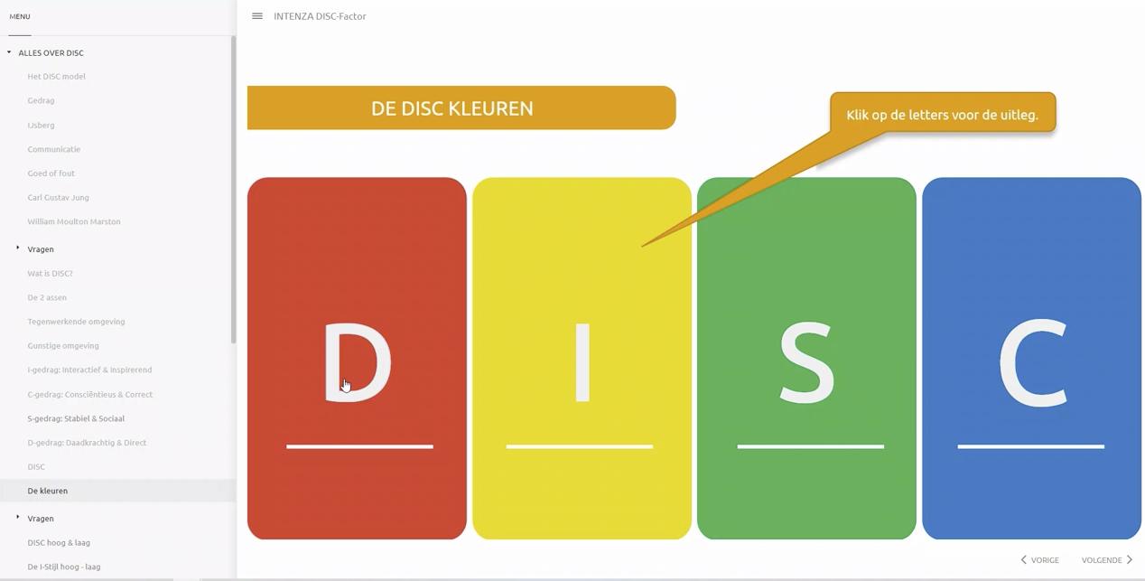 Demo online DISC training Intenza
